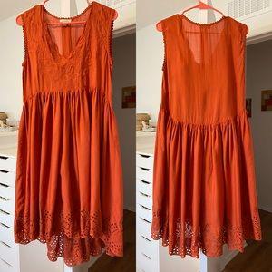 Max Studio Terracotta Eyelet Hem Embroidered Dress
